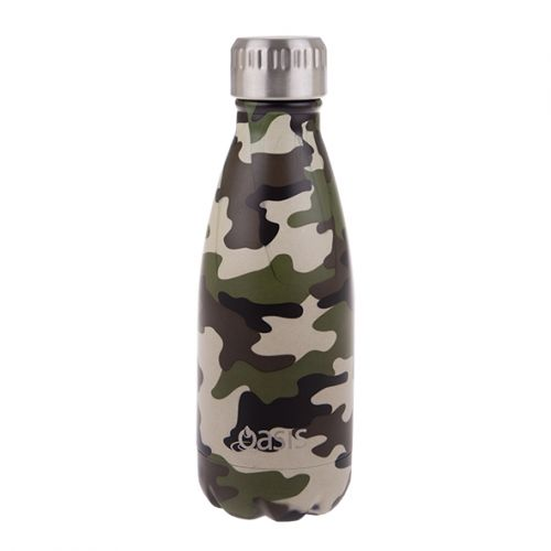 OASIS S/S DOUBLE WALL INSULATED DRINK BOTTLE 350ML - CAMO GREEN