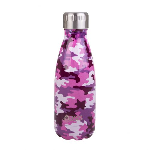 OASIS STAINLESS STEEL DOUBLE WALL INSULATED DRINK BOTTLE 350ML - CAMO PINK