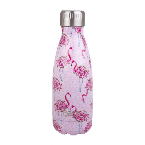 OASIS STAINLESS STEEL DOUBLE WALL INSULATED DRINK BOTTLE 350ML - FLAMINGOS