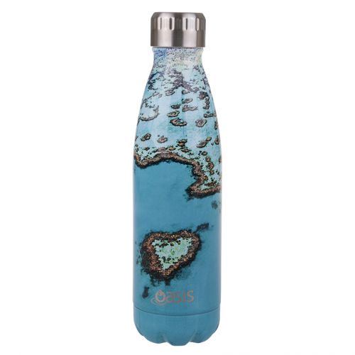 OASIS STAINLESS STEEL DOUBLE WALL INSULATED DRINK BOTTLE 500ML - HEART REEF
