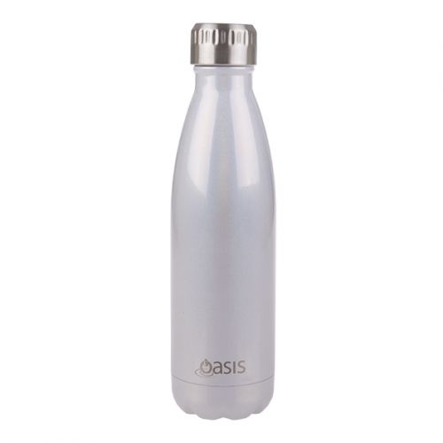 """OASIS """"LUSTRE"""" STAINLESS STEEL DOUBLE WALL INSULATED DRINK BOTTLE 500ML - PEARL"""