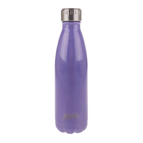 """OASIS """"LUSTRE"""" S/S DOUBLE WALL INSULATED DRINK BOTTLE 500ML - PURPLE"""