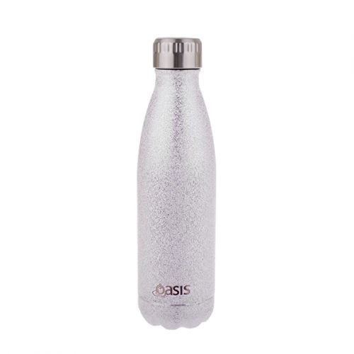 """OASIS """"SHIMMER"""" STAINLESS STEEL DOUBLE WALL INSULATED DRINK BOTTLE 500ML - SILVER"""
