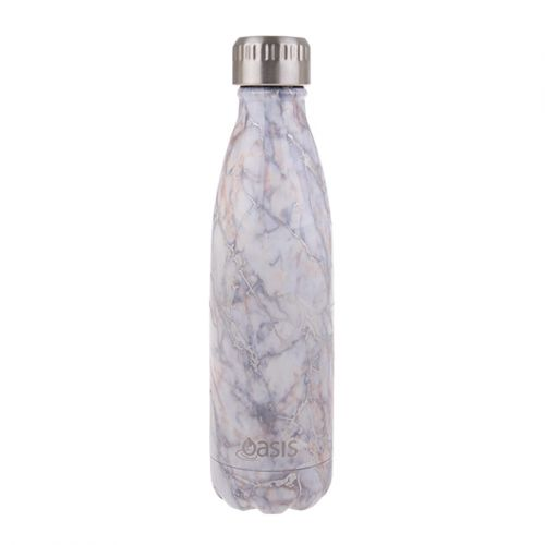 OASIS STAINLESS STEEL DOUBLE WALL INSULATED DRINK BOTTLE 500ML - SILVER QUARTZ