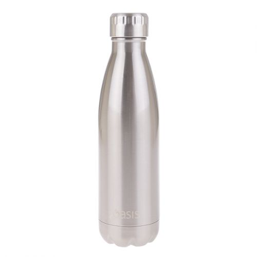 OASIS STAINLESS STEEL DOUBLE WALL INSULATED DRINK BOTTLE 500ML - SILVER