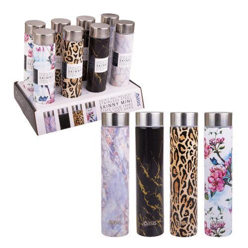 OASIS SKINNY MINI STAINLESS STEEL DOUBLE WALL INSULATED DRINK BOTTLE 250ML (CDU 8) - 4 ASST. DESIGNS