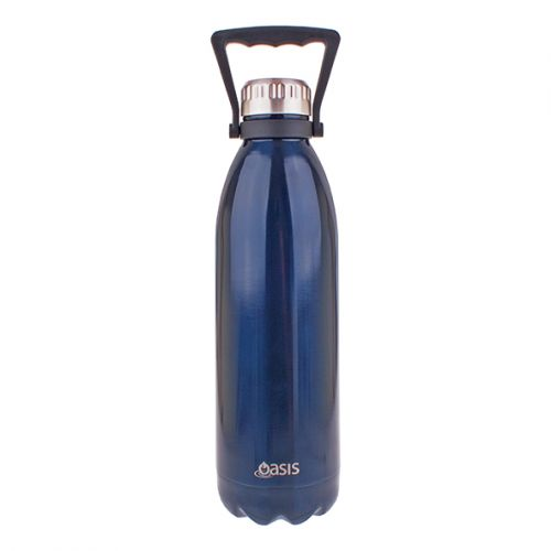 OASIS STAINLESS STEEL DOUBLE WALL INSULATED DRINK BOTTLE W/ HANDLE 1.5L - NAVY