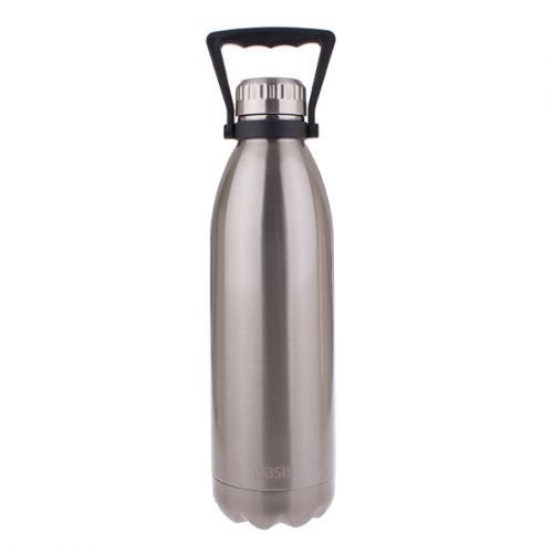 OASIS STAINLESS STEEL DOUBLE WALL INSULATED DRINK BOTTLE W/ HANDLE 1.5L - SILVER