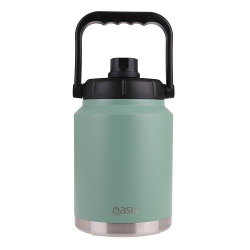 OASIS STAINLESS STEEL DOUBLE WALL INSULATED JUG W/ CARRY HANDLE 2.1L - SAGE GREEN