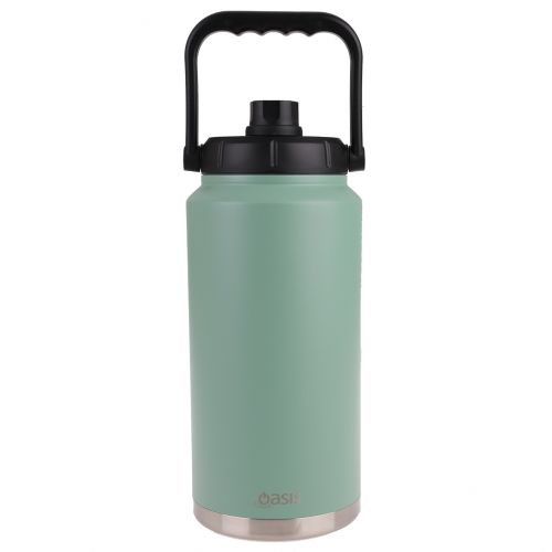 OASIS STAINLESS STEEL DOUBLE WALL INSULATED JUG W/ CARRY HANDLE 3.8L - SAGE GREEN