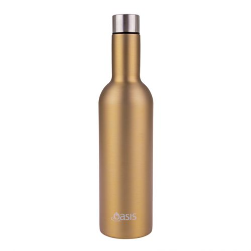 OASIS S/S DOUBLE WALL INSULATED WINE TRAVELLER 750ML - CHAMPAGNE GOLD