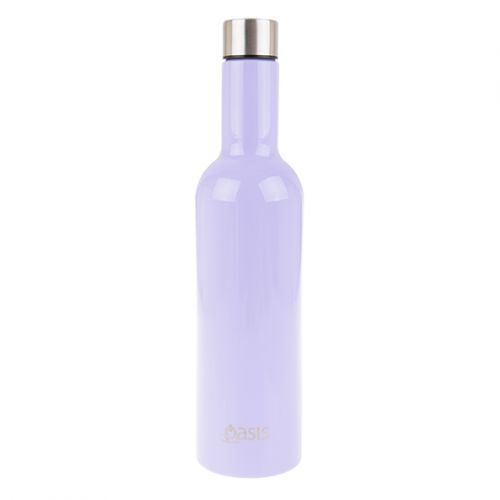 OASIS STAINLESS STEEL DOUBLE WALL INSULATED WINE TRAVELLER 750ML - LILAC