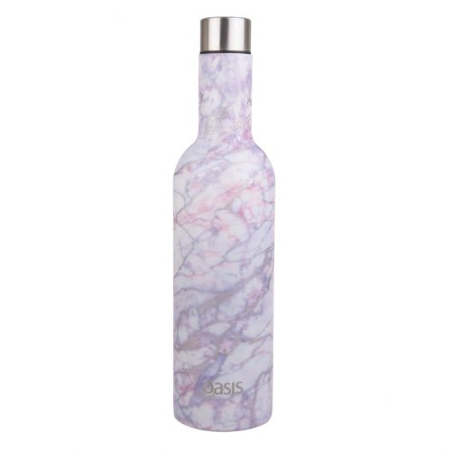 OASIS STAINLESS STEEL DOUBLE WALL INSULATED WINE TRAVELLER 750ML - SILVER QUARTZ
