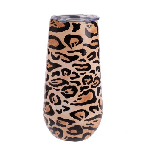 OASIS STAINLESS STEEL DOUBLE WALL INSULATED CHAMPAGNE FLUTE 180ML - LEOPARD PRINT