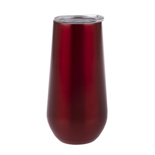 OASIS STAINLESS STEEL DOUBLE WALL INSULATED CHAMPAGNE FLUTE 180ML - RUBY