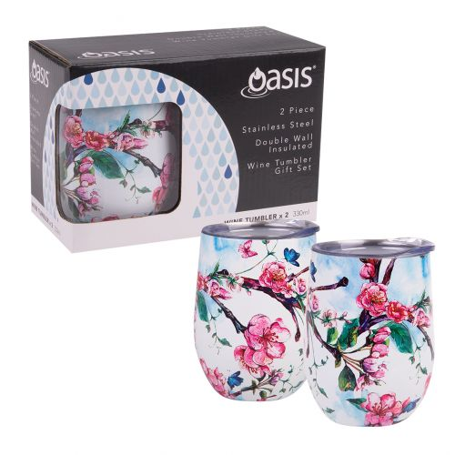 OASIS 2 PIECE STAINLESS STEEL DOUBLE WALL INSULATED WINE TUMBLER GIFT SET - SPRING BLOSSOM