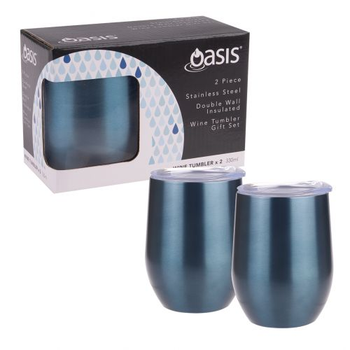 OASIS 2 PIECE STAINLESS STEEL DOUBLE WALL INSULATED WINE TUMBLER GIFT SET - SAPPHIRE
