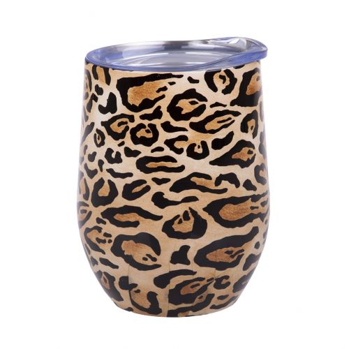 OASIS STAINLESS STEEL DOUBLE WALL INSULATED WINE TUMBLER 330ML - LEOPARD PRINT