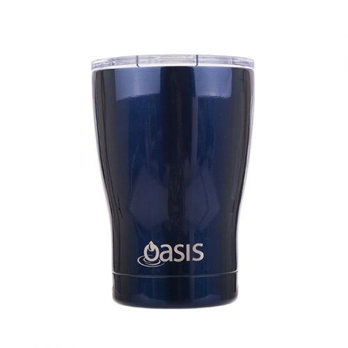 "OASIS S/S DOUBLE WALL INSULATED ""TRAVEL CUP"" 340ML - NAVY"