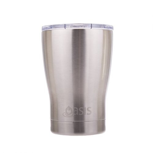"OASIS S/S DOUBLE WALL INSULATED ""TRAVEL CUP"" W/ LID 340ML - SILVER"