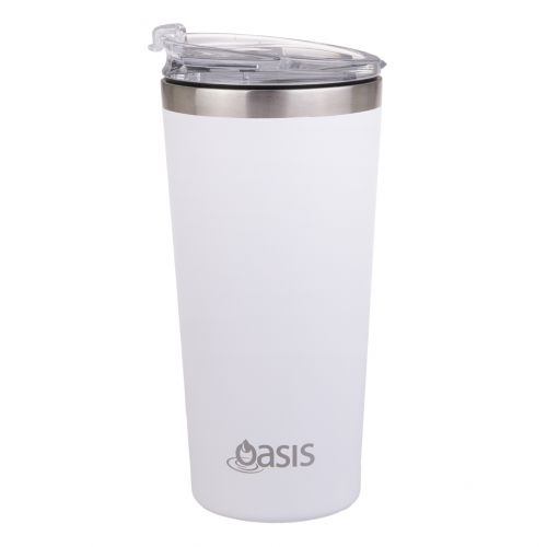 """OASIS STAINLESS STEEL DOUBLE WALL INSULATED """"TRAVEL MUG"""" 480ML - WHITE"""