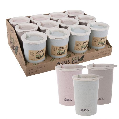 """OASIS DOUBLE WALL """"ECO CUP"""" 300ML (CDU 12) - 3 ASST. COLOURS"""