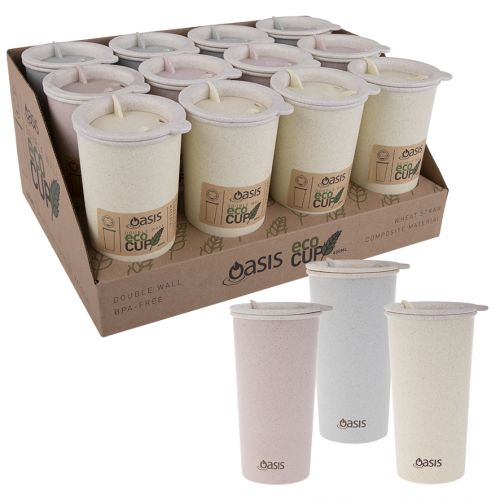 """OASIS DOUBLE WALL """"ECO CUP"""" 400ML (CDU 12) - 3 ASST. COLOURS"""