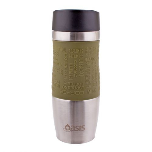 "OASIS ""CAFÉ"" S/S DOUBLE WALL INSULATED TRAVEL MUG 380ML - AVOCADO"