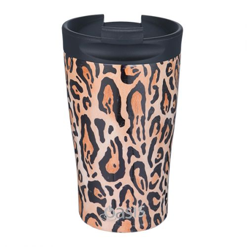"OASIS S/S DOUBLE WALL INSULATED ""TRAVEL CUP"" 350ML - LEOPARD PRINT"