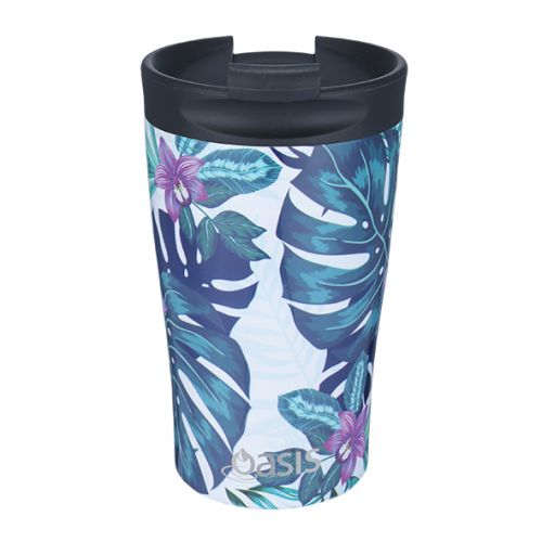 "OASIS S/S DOUBLE WALL INSULATED ""TRAVEL CUP"" 350ML - TROPICAL PARADISE"