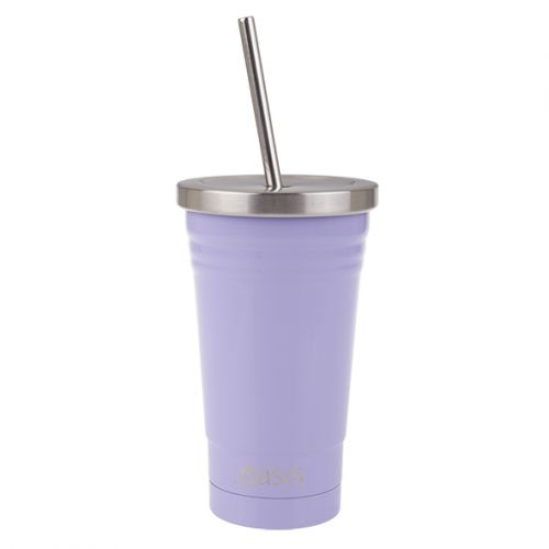 OASIS STAINLESS STEEL DOUBLE WALL INSULATED SMOOTHIE TUMBLER W/ STRAW 500ML - LILAC