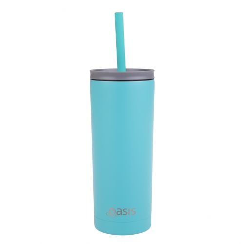 """OASIS """"SUPER SIPPER"""" INSULATED TUMBLER W/ SILICONE HEAD STRAW 600ML - TURQUOISE"""