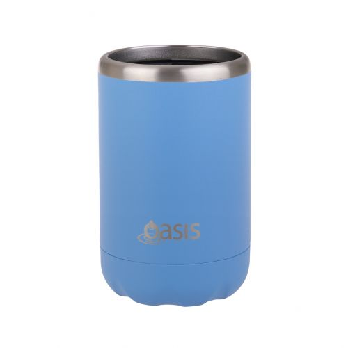 "OASIS STAINLESS STEEL DOUBLE WALL INSULATED ""COOLER CAN"" 375ML - CALYPSO BLUE"