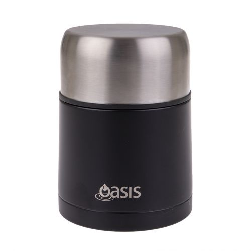 OASIS STAINLESS STEEL VACUUM INSULATED FOOD FLASK W/ SPOON 600ML - MATTE BLACK