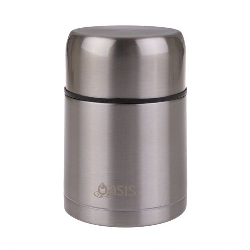 OASIS STAINLESS STEEL VACUUM INSULATED FOOD FLASK W/ SPOON 800ML - SILVER