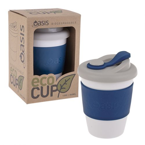 """OASIS BIODEGRADABLE """"ECO CUP"""" 12OZ/340ML - NAVY"""