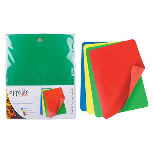 APPETITO FLEXIBLE CUTTING BOARD SET 4 - ASST. COLOURS