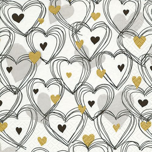 PAPER+DESIGN LUNCHEON NAPKINS - SHOWER OF HEARTS - GOLD
