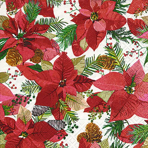 PAPER+DESIGN LUNCHEON NAPKINS - SHINY POINSETTIA